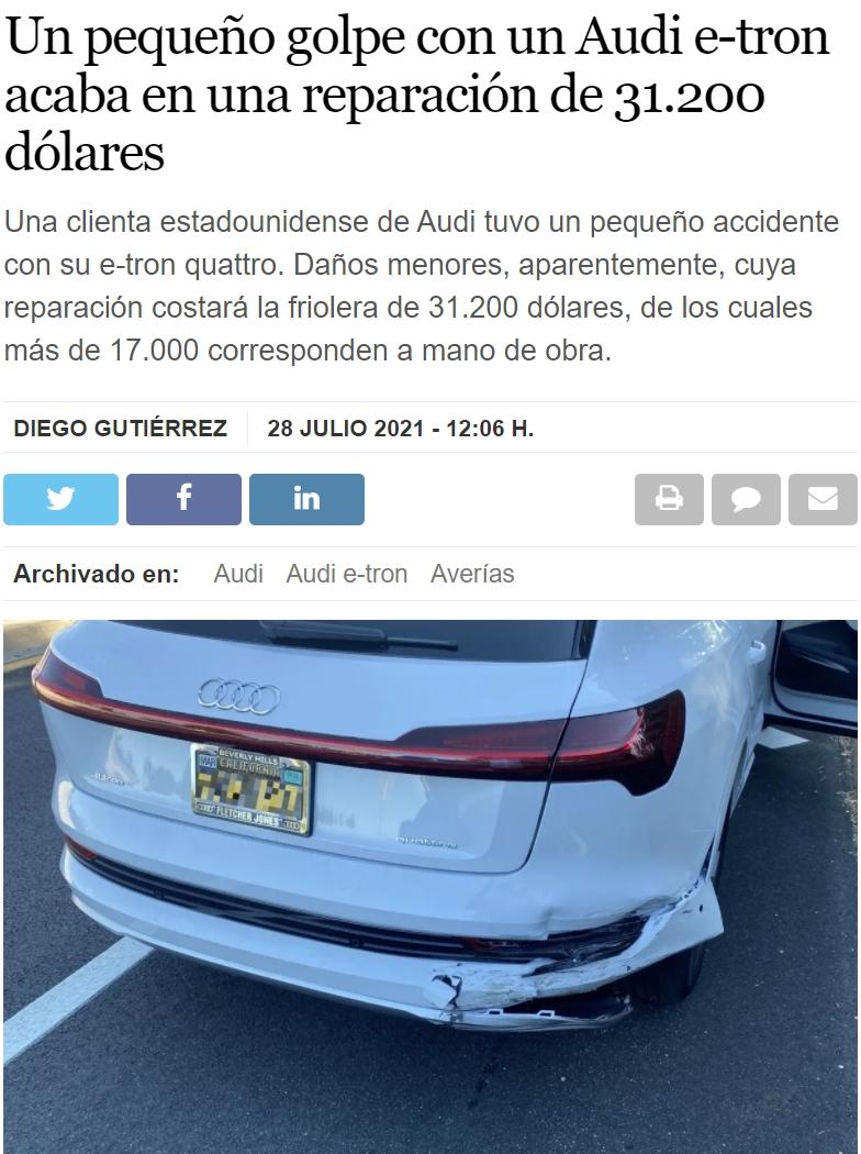 Audi e-tron: un golpecito en el parachoques trasero -> 31200 dólares de reparación