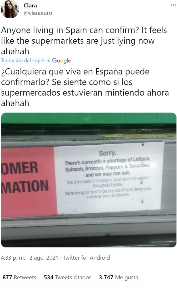 """""""Falta de stock por inundaciones en España"""""""