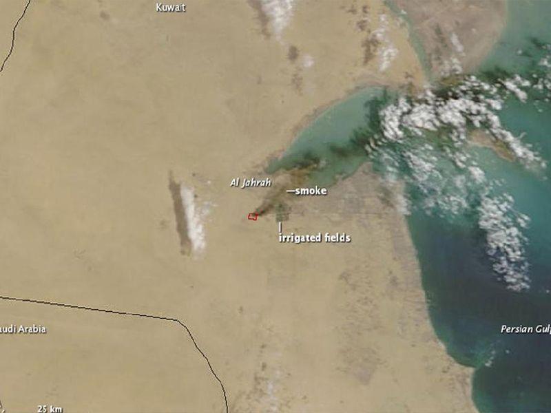 El depósito de neumáticos usados más grande del mundo está en Kuwait, y un sector de 25.000 metros cuadrados fue pasto de las llamas ayer