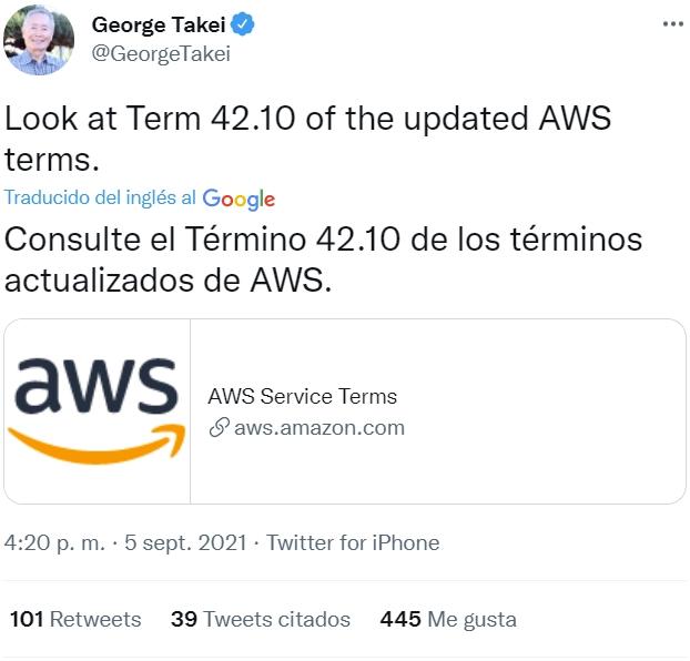 Atentos al punto 42.10 de los nuevos términos de servicio de Amazon AWS