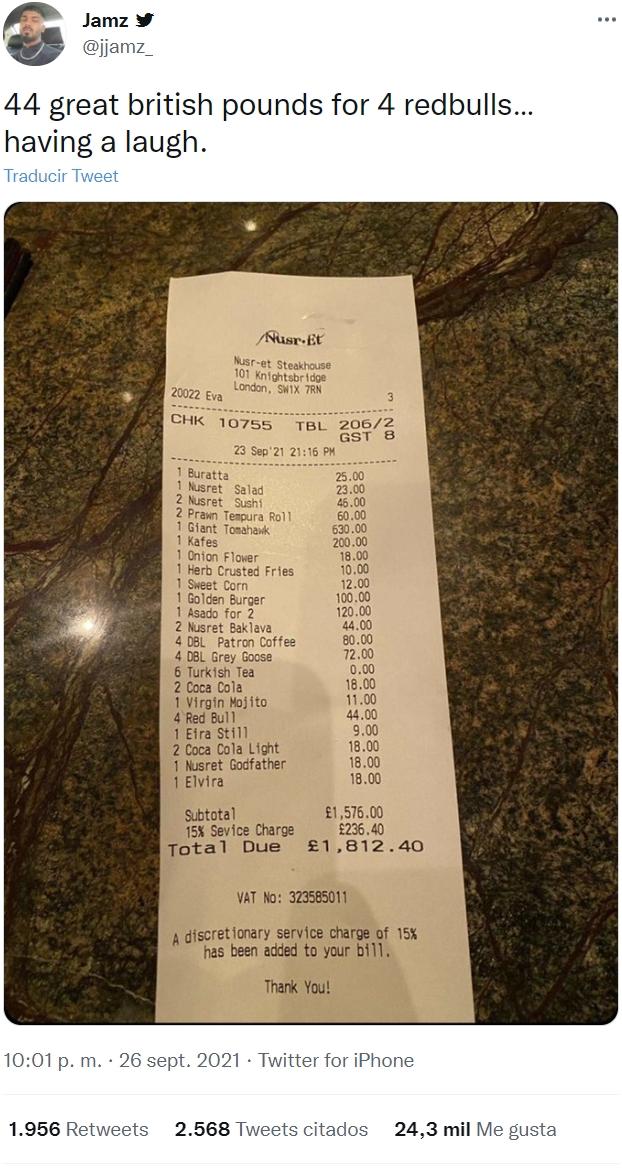 El nuevo restaurante de Salt Bae: 13 euros por un Red Bull, y 730 por un filete de ternera