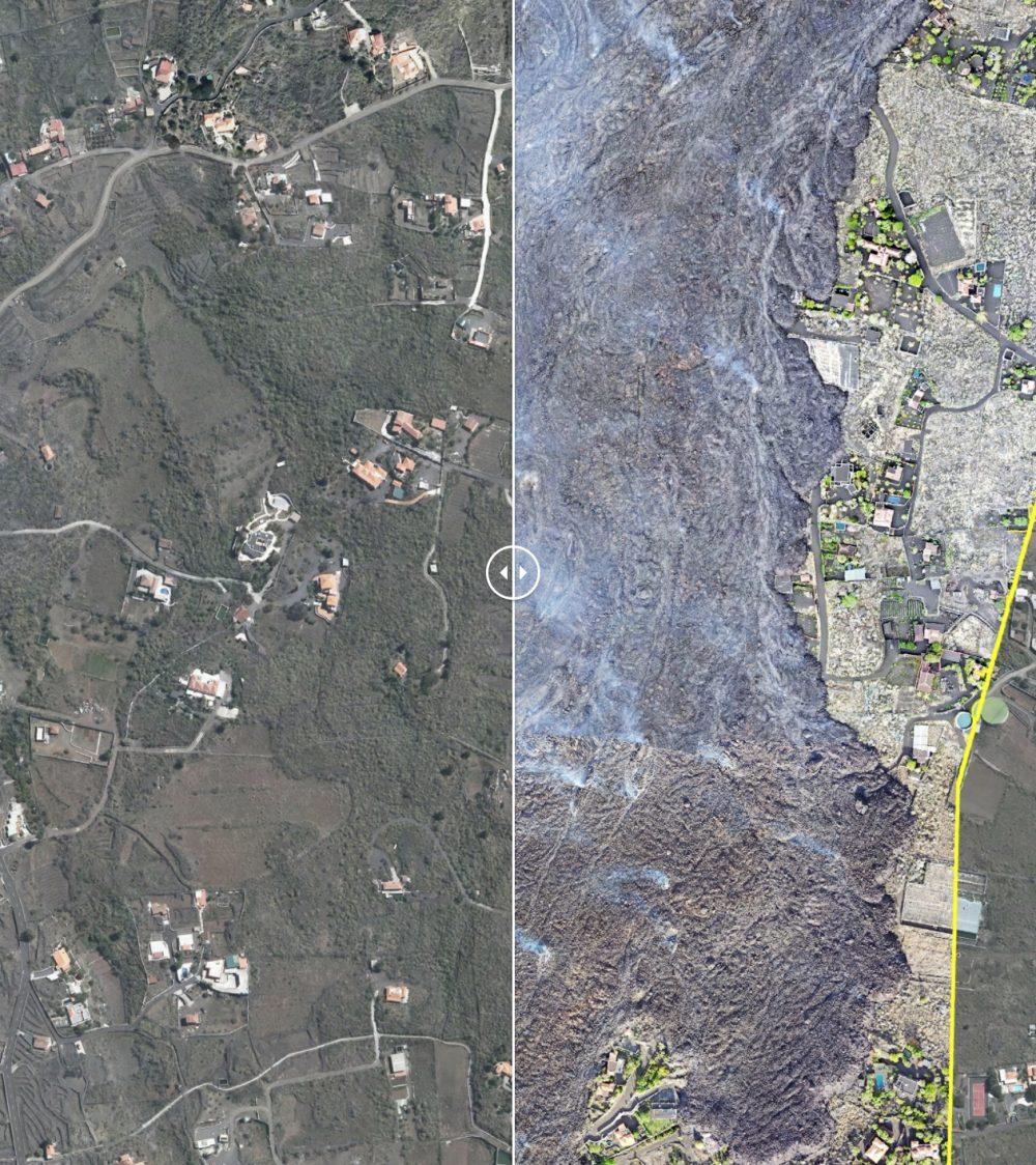 Primera foto del volcán de la palma a vista de satélite y SIN NUBES