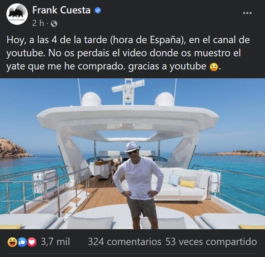 Frank Cuesta se compra un yate con los ingresos procedentes de Youtube