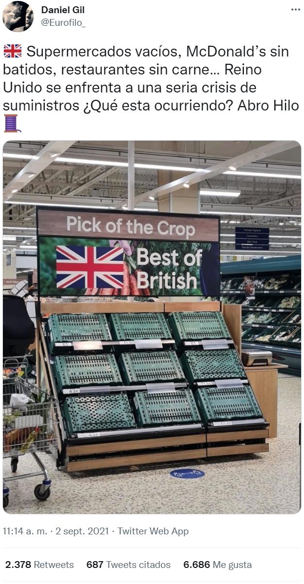 Empieza a sentirse el desabastecimiento en UK