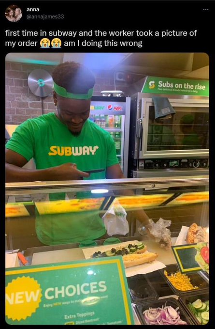 Cuando tu pedido es tan lamentable que el empleado del subway le hace fotos