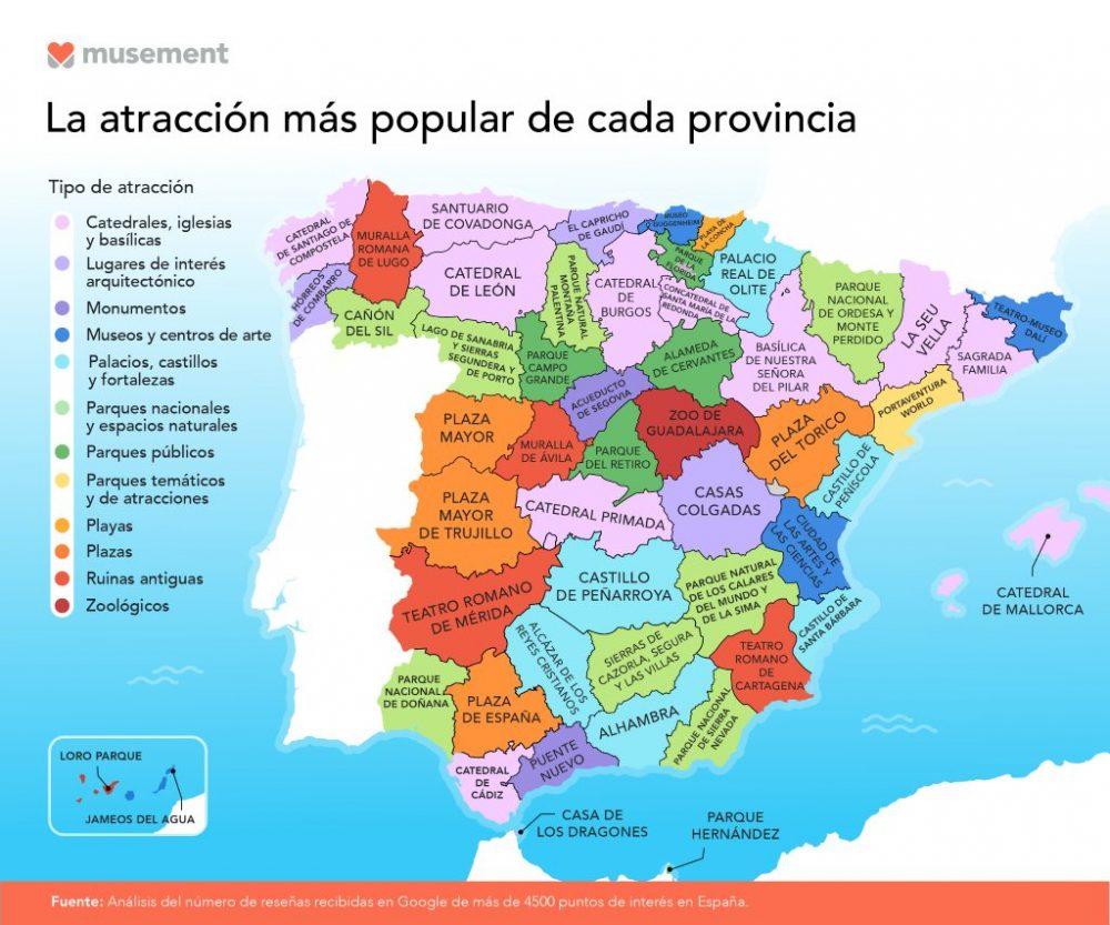 La atracción turística más popular en cada provincia de España