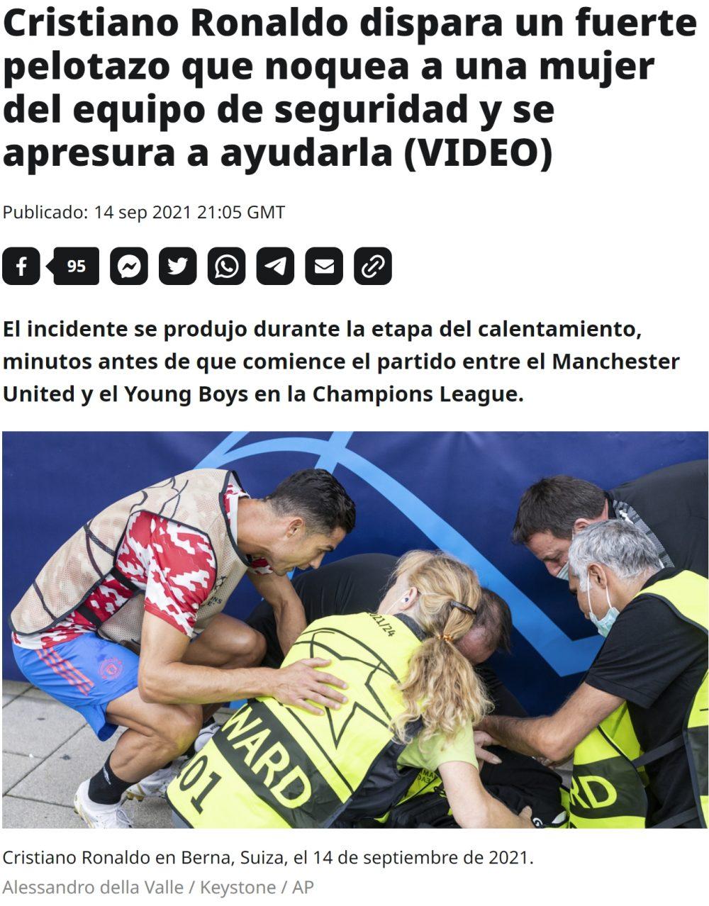 Cristiano se disculpa con una mujer de seguridad a la que derribó de un balonazo
