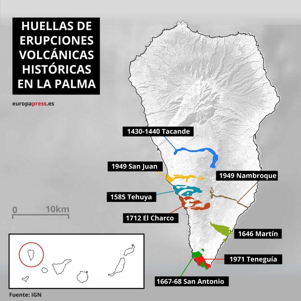 Identificando los crecimientos de La Palma tras las anteriores erupciones.