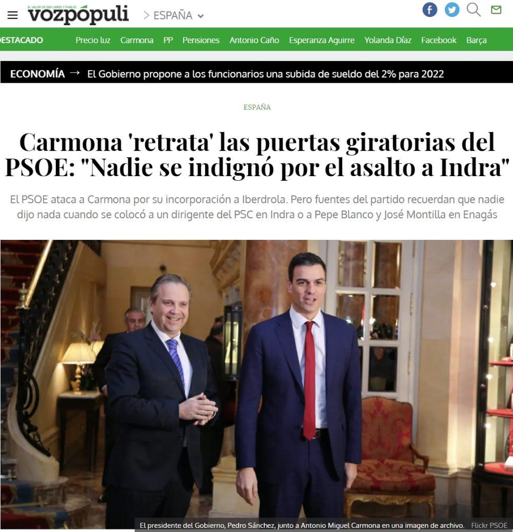 Veo al PSOE indignándose por el fichaje de Carmona por Iberdrola y me da la risa