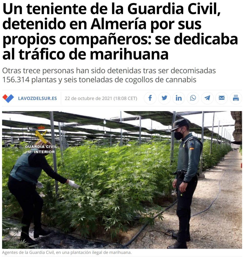 Pillote en Almería: un teniente de la GC detenido porque sus compañeros han cantado.