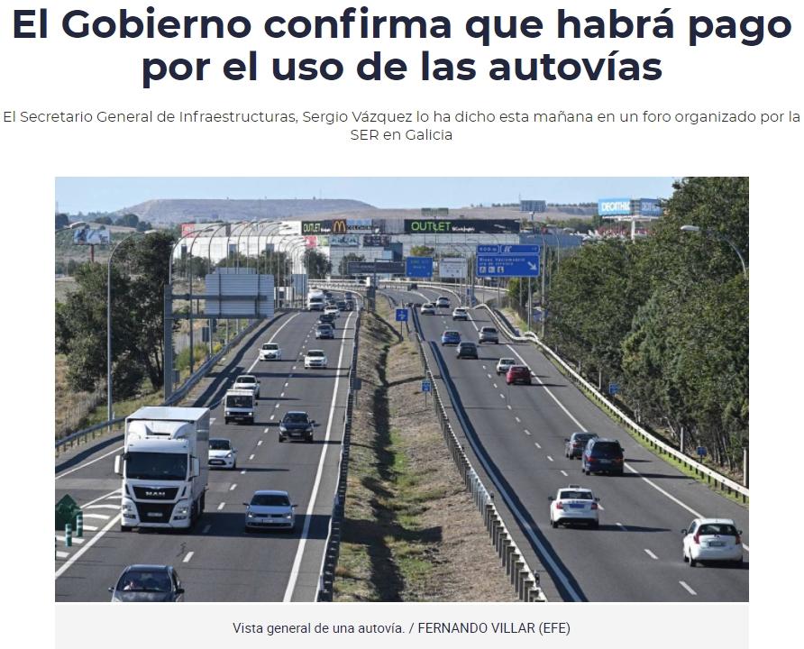 Confirmed: habrá peajes en las autovías
