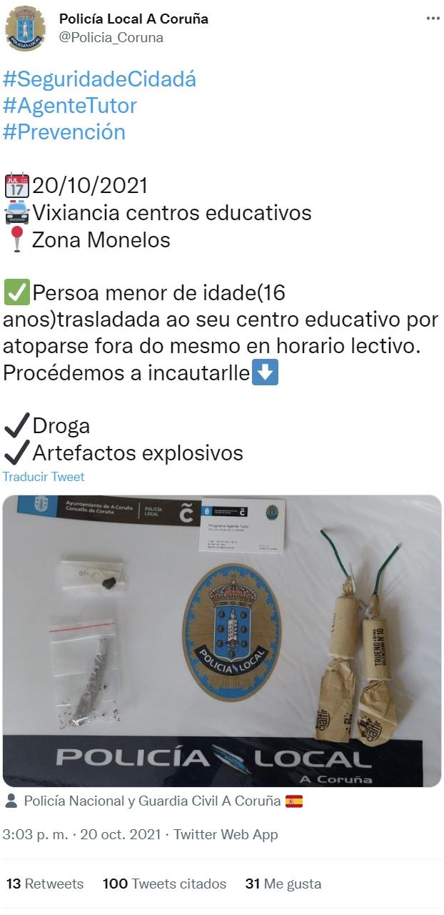 Policía de Coruña publica foto incautación de 2 petardos y un peta