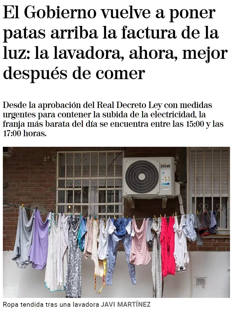El Gobierno vuelve a poner patas arriba la factura de la luz: la lavadora, ahora, mejor después de comer