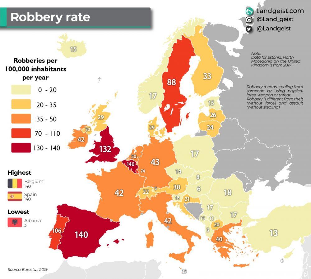 Robos por cada 100.000 habitantes en Europa