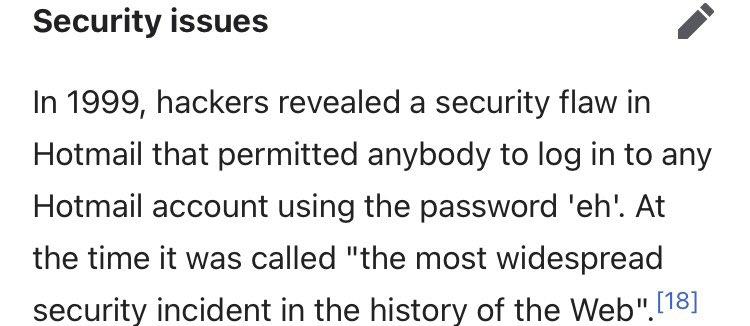 ¿Sabias que en 1999 podias acceder a la cuenta de cualquier usuario de Hotmail usando la clave 'eh'?