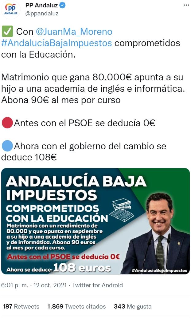 Ojo al PP de Andalucía ayudando a la gente realmente necesitada: parejas que ingresan 6000 euros al mes y quieren desgravar las clases de inglés