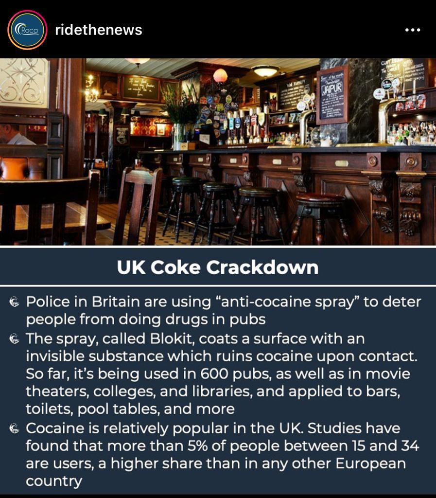 """¿Sabías que en UK usan un """"spray anti-coca"""" en bares cines, institutos... que se aplica a las superficies y la deja totalmente inservible?"""